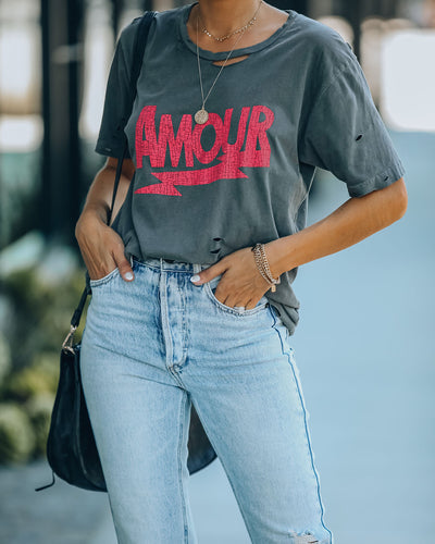 Distressed Cotton Amour Tee