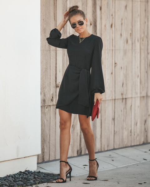 Davidson Long Sleeve Wrap Dress - Black