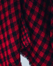 Walton Buffalo Check Poncho - Red - FINAL SALE view 4