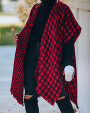 Walton Buffalo Check Poncho - Red - FINAL SALE view 3