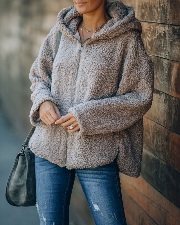 Shanna Pocketed Hooded Sherpa Jacket