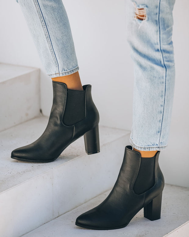 Samira Heeled Faux Leather Bootie