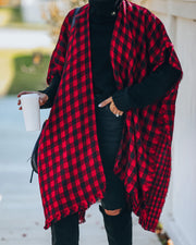 Walton Buffalo Check Poncho - Red - FINAL SALE view 6