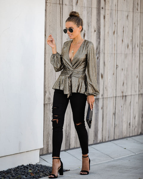 Good As Gold Metallic Tie Blouse