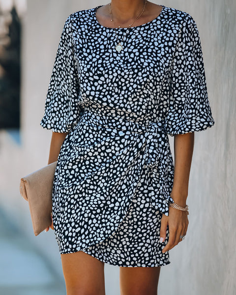 Many Moons Ago Printed Puff Sleeve Tie Dress