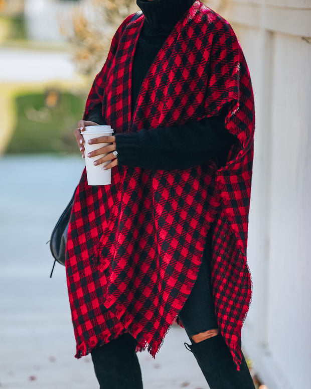 Walton Buffalo Check Poncho - Red - FINAL SALE view 8
