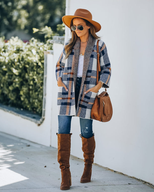 Nightfall Plaid Pocketed Knit Cardigan