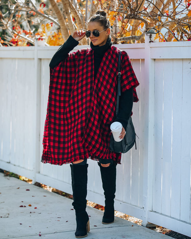 Walton Buffalo Check Poncho - Red - FINAL SALE view 9