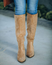 Leanna Faux Suede Heeled Boot - Almond view 8