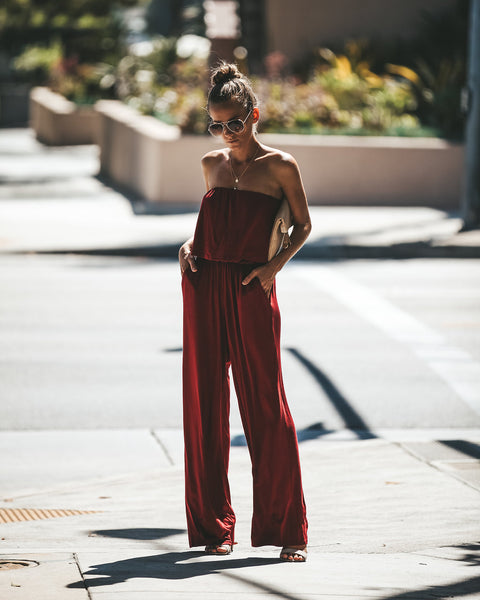 A Little Bit Dramatic Pocketed Jumpsuit - Burgundy