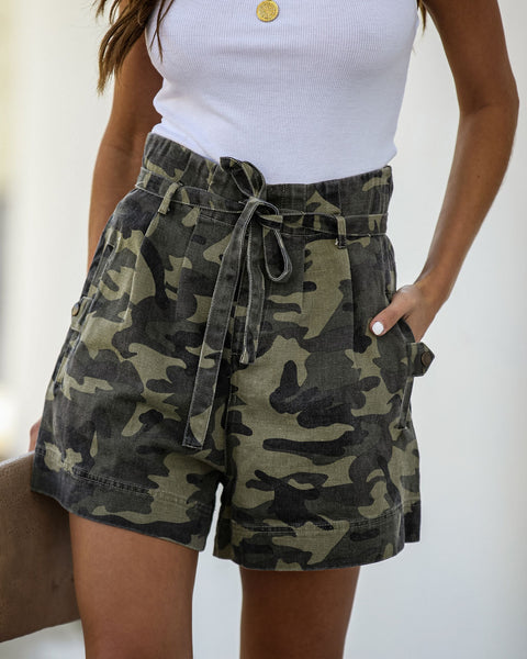 Kyrie High Waisted Cotton Pocketed Camo Shorts