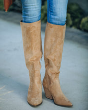Leanna Faux Suede Heeled Boot - Almond view 9