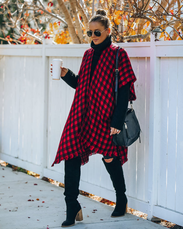 Walton Buffalo Check Poncho - Red - FINAL SALE view 10