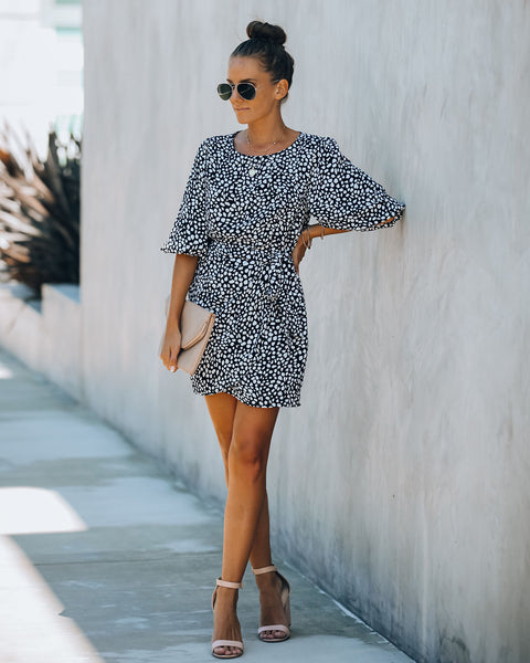 Many Moons Ago Printed Puff Sleeve Tie Dress - FINAL SALE