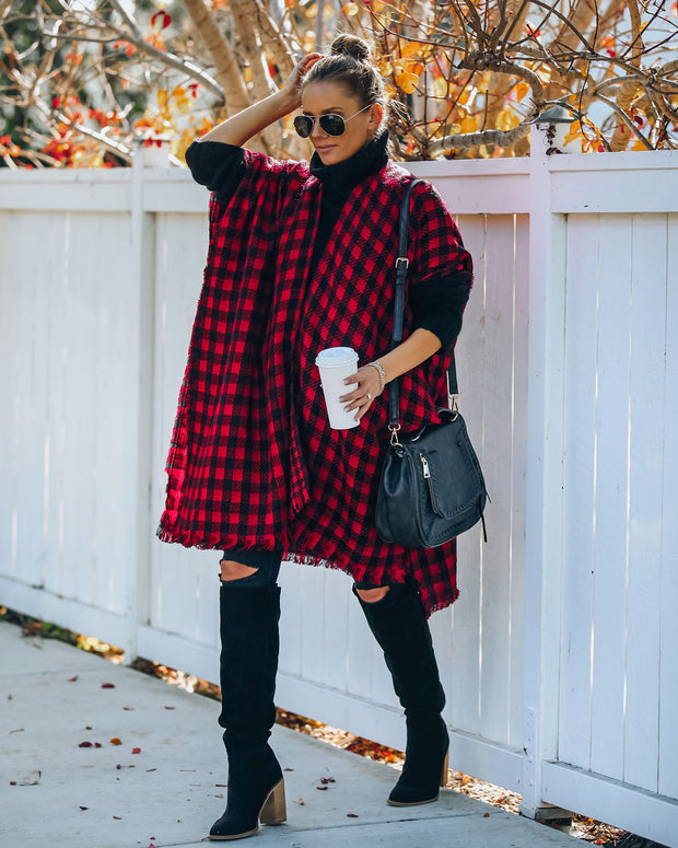 Walton Buffalo Check Poncho - Red - FINAL SALE view 5