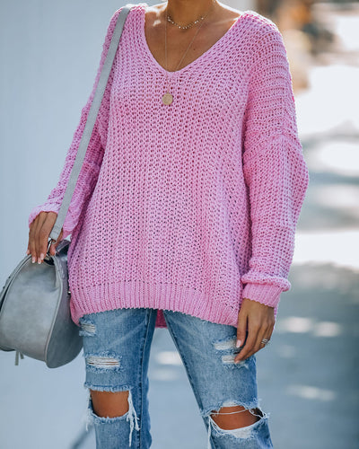 Pinky Promise Cotton Blend Knit Sweater - Cherry Pink