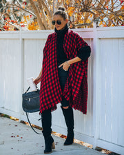 Walton Buffalo Check Poncho - Red - FINAL SALE view 1