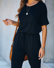End Of Story Pocketed Knit Jumpsuit - Black