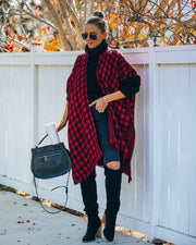 Walton Buffalo Check Poncho - Red - FINAL SALE view 7