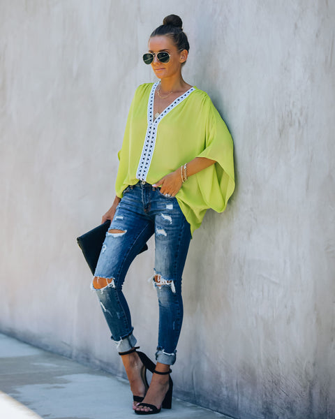 Statement Shade Embroidered Blouse - Neon Yellow