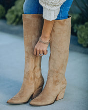 Leanna Faux Suede Heeled Boot - Almond view 2