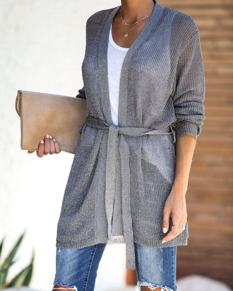 Can't Resist Metallic Tie Cardigan - Gunmetal - FINAL SALE
