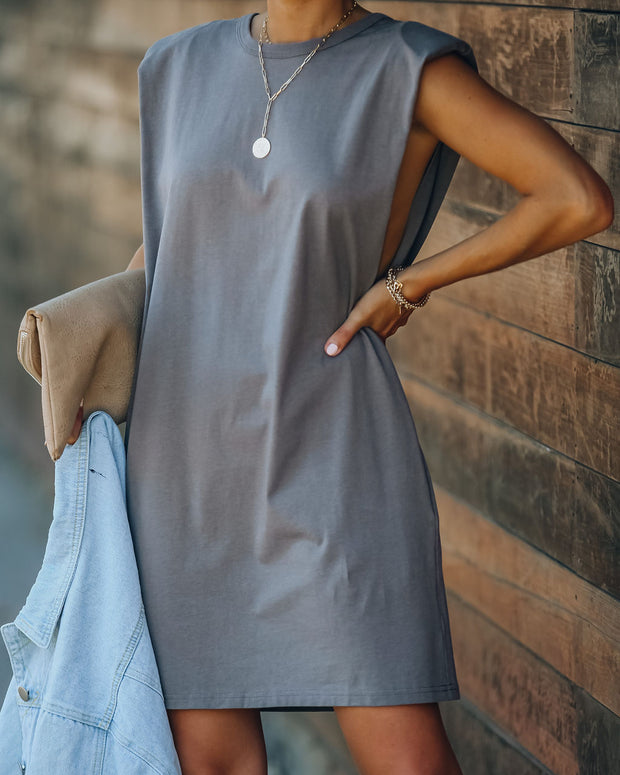 Strong Suit Cotton Pocketed Dress - Grey - FINAL SALE