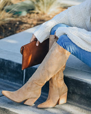 Leanna Faux Suede Heeled Boot - Almond view 6