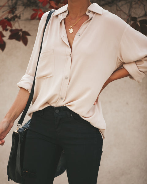 Kiersten Button Down Blouse - Latte