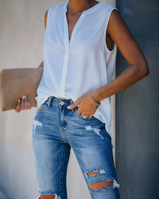 Evora Button Down Tank - Ivory - FINAL SALE