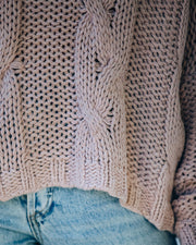 Ilana Cable Knit Turtleneck Sweater - Dusty Mauve view 4