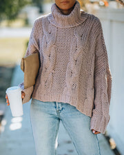 Ilana Cable Knit Turtleneck Sweater - Dusty Mauve view 7
