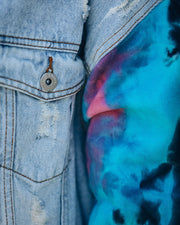 Slash Tie Dye Knit Hooded Denim Jacket