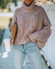 Ilana Cable Knit Turtleneck Sweater - Dusty Mauve view 5
