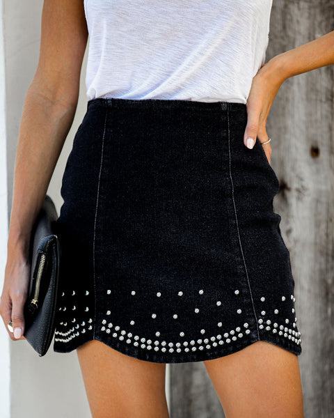 Radiohead Studded Scalloped Mini Skirt