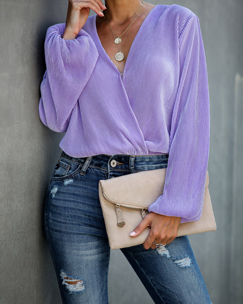 Curtain Call Long Sleeve Drape Bodysuit - Lavender