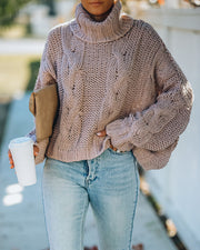 Ilana Cable Knit Turtleneck Sweater - Dusty Mauve view 9