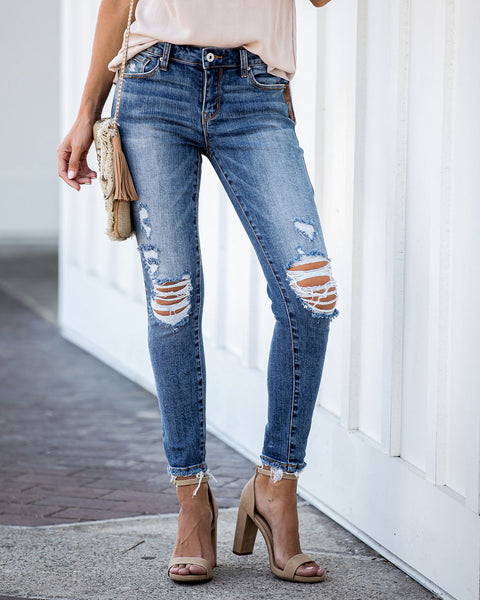 Damian Mid Rise Frayed Ankle Skinny - FINAL SALE