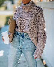 Ilana Cable Knit Turtleneck Sweater - Dusty Mauve view 3