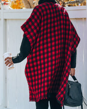 Walton Buffalo Check Poncho - Red - FINAL SALE view 2