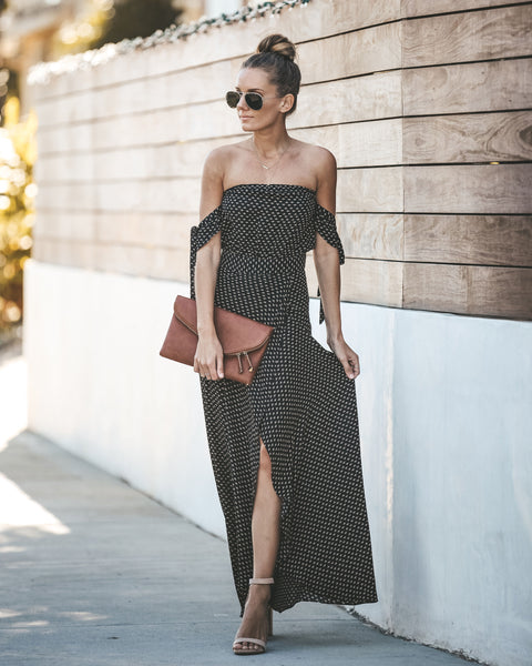 London Lover Off The Shoulder Maxi Dress - Black - FINAL SALE