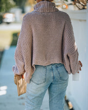Ilana Cable Knit Turtleneck Sweater - Dusty Mauve view 2