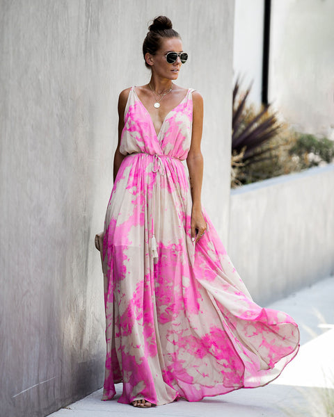 Showcase Tie Dye Slit Maxi Dress - FINAL SALE