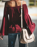 Arrison Off The Shoulder Bell Sleeve Tie Blouse - Wine
