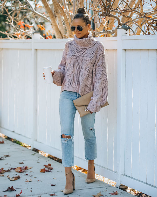 Ilana Cable Knit Turtleneck Sweater - Dusty Mauve view 8