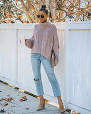 Ilana Cable Knit Turtleneck Sweater - Dusty Mauve view 6