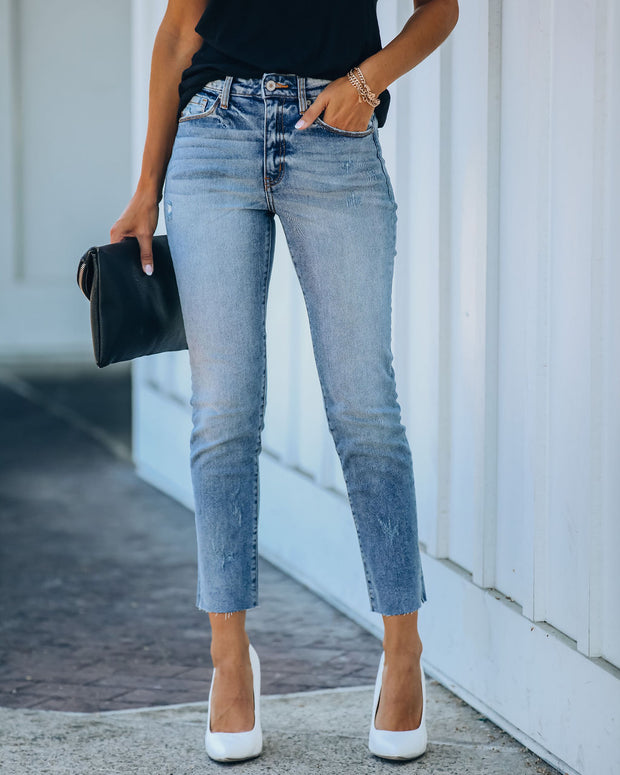 Milly High Rise Split Ankle Denim view 3