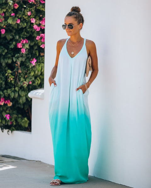 Sounds Of The Ocean Pocketed Ombre Maxi Dress - Mint