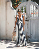 Positano Tie Jumpsuit - Navy/White - FLASH SALE