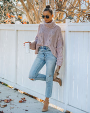 Ilana Cable Knit Turtleneck Sweater - Dusty Mauve view 1
